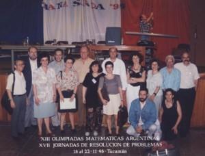 Claudi Alsina amb el professorat del seminari OMA a Tucumán, Argentina. 1996